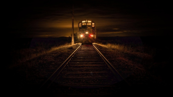 landscape, diesel locomotives, evening, railway, dry grass, lights, technology, train, Chile, 2350, nature