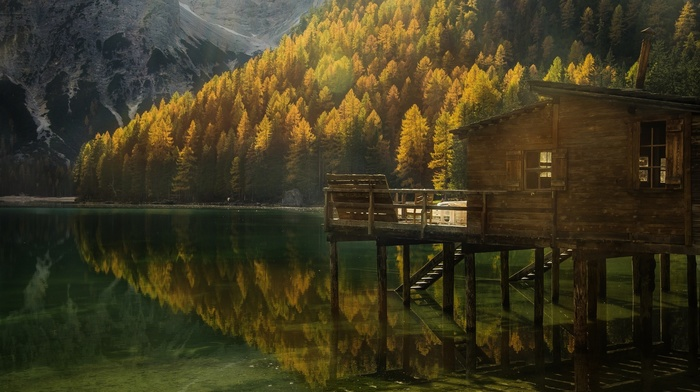 forest, nature, reflection, Italy, fall, mountain, cabin, sunlight, landscape, lake