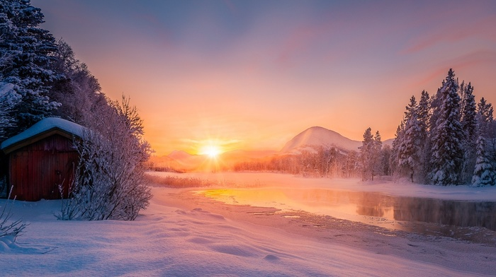 calm, sun rays, Norway, cabin, cold, landscape, mountain, meditation, winter, snow, forest, river, sunrise, nature