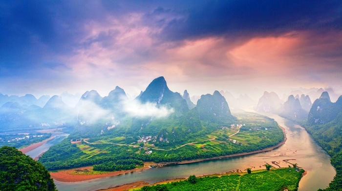 mountain, mist, morning, landscape, sunrise, China, village, nature, river, road, sky, clouds, Guilin, field