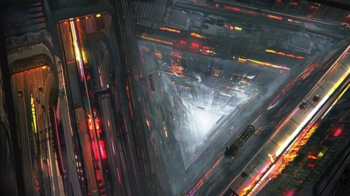 city, concept art, artwork, fantasy art, futuristic