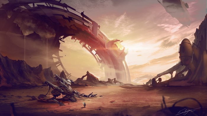 artwork, fantasy art, aliens, space, futuristic, landscape