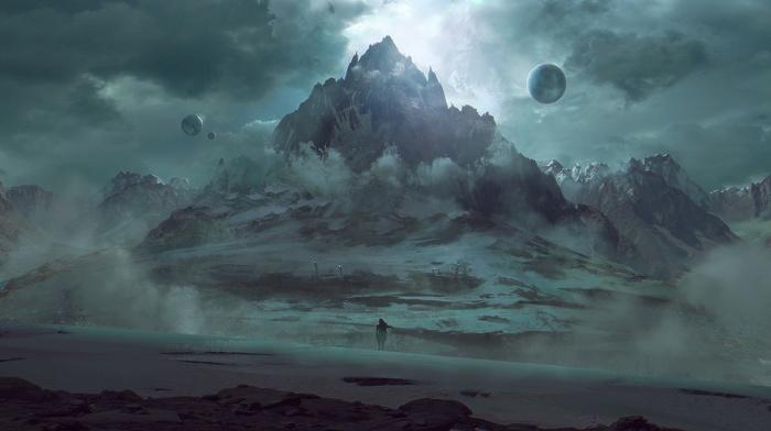 fantasy art, mountain, planet