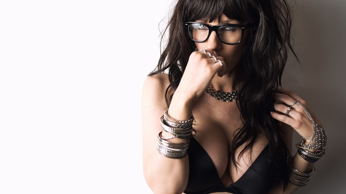 black bras, girl, walls, bracelets, portrait, girl with glasses, big boobs