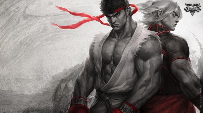 Street Fighter, Ryu Street Fighter, video games, Street Fighter V, artwork, Ken Street Fighter