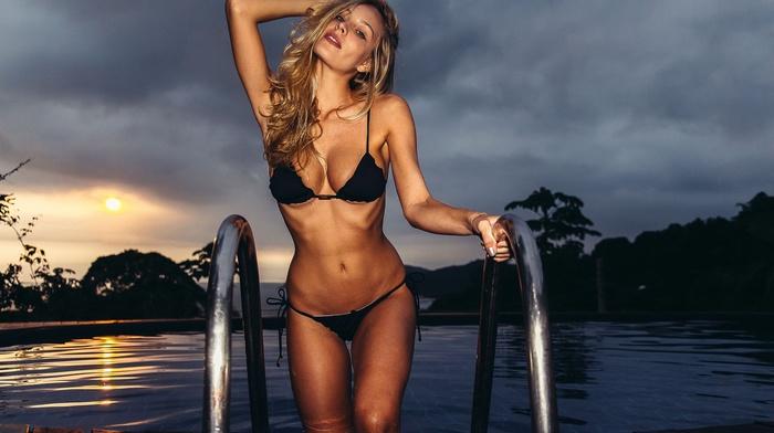 black bikinis, Guilherme Longo, Ana Carolina, sunset, hands on head, flat belly, girl, blonde, swimming pool, model, skinny, armpits, brunette