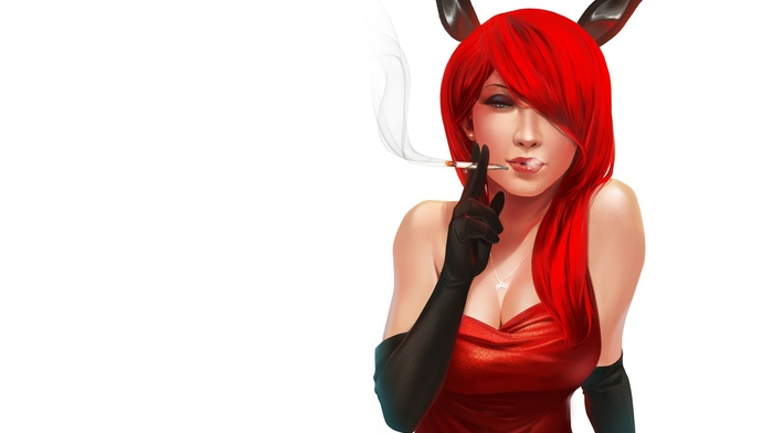 bunny ears, black gloves, elbow gloves, simple background, long hair, white background, redhead, boobs, red dress, cleavage, smoking