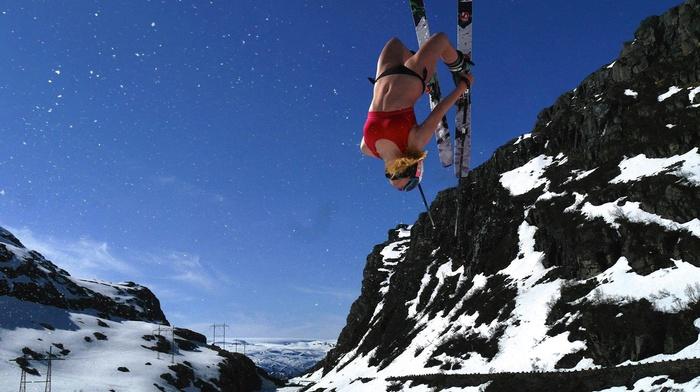 Ski, winter, clear sky, girl, mountain, bikini, backflip