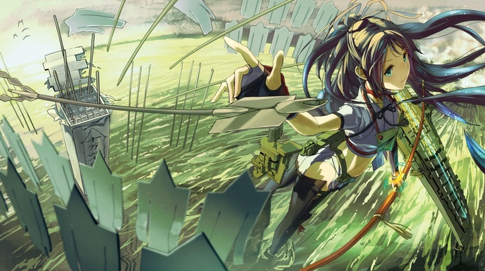 Kantai Collection, bow and arrow, thigh, highs, anime, long hair, anime girls, Katsuragi Kancolle