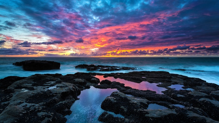 landscape, sea, clouds