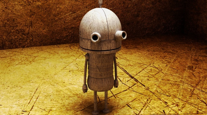 digital art, robot, simple, room, scratches, Machinarium, 3D, video games