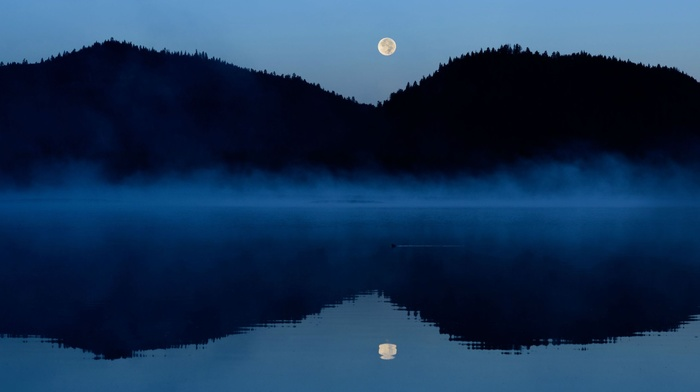 moon, lake, water, trees, mist, landscape, reflection, evening, nature, hill, forest