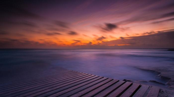 water, sea, nature, rock, planks, horizon, sunset, waves, clouds, landscape, long exposure, wooden surface, pier