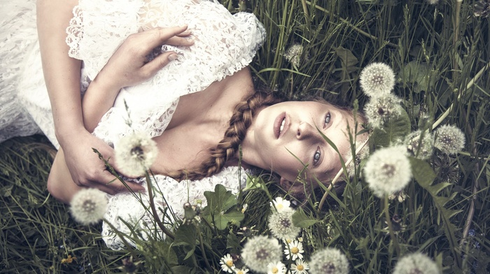girl, model, flowers, girl outdoors