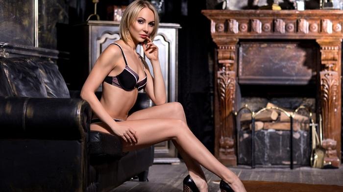 model, blonde, black lingerie, couch, looking at viewer, girl, Ekaterina Savina, high heels