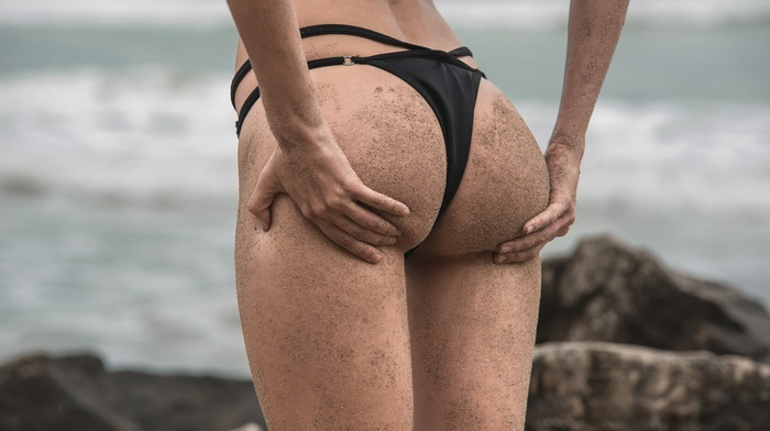 sand, sea, black, black bikinis, rock, hands on ass, girl