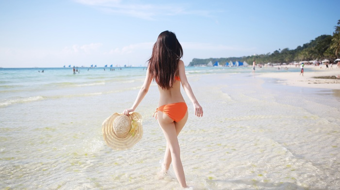 long hair, Asian, back, beach, hat, walking, girl, sea, orange bikini, bikini