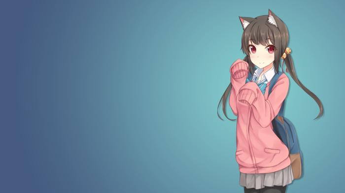 nekomimi, anime girls, cat girl, anime, original characters, animal ears, school uniform