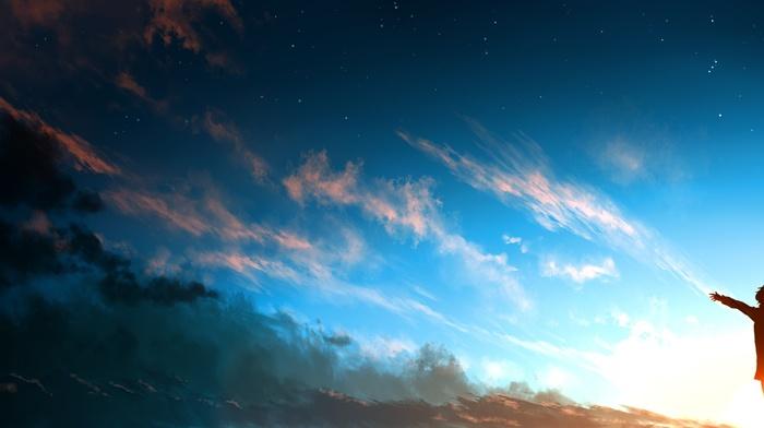 clouds, sky, anime girls