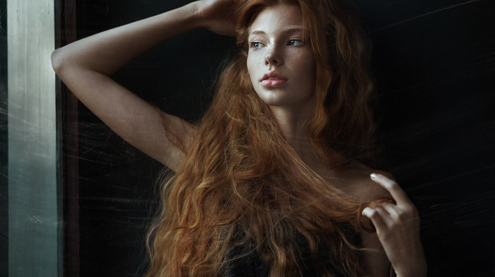 window, model, redhead, juicy lips, face, wavy hair, open mouth, arms up, freckles, scratches, long hair, bare shoulders, girl, looking away