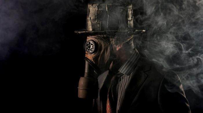 tie, vintage, shirt, smoke, gas masks, suits, hat, black background, men, steampunk