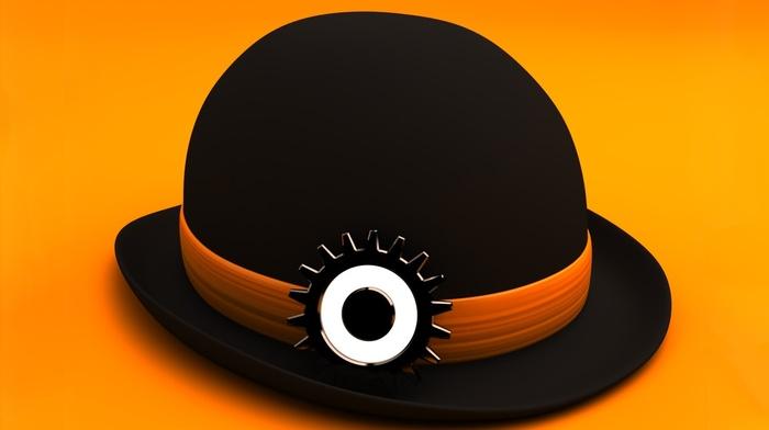 A Clockwork Orange, digital art, Stanley Kubrick, minimalism, 3D, simple background, gears, yellow background, movies, eyes, hat