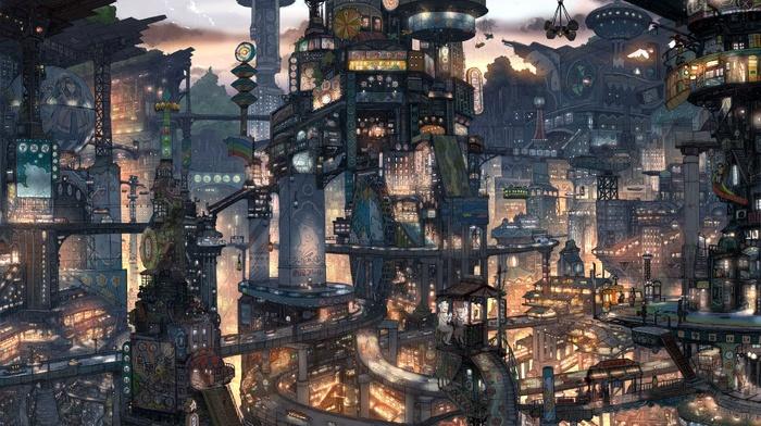 landscape, Japan, futuristic city, anime, cyberpunk, illustration