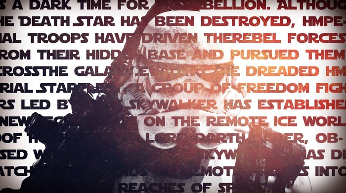 star wars episode v, the empire strikes back, Star Wars, stormtrooper, Double Exposure, typography