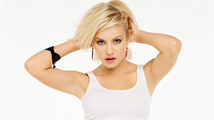 model, Elisha Cuthbert, hands in hair, looking at viewer, blonde, girl, tank top