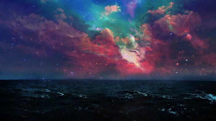 space, night, sea