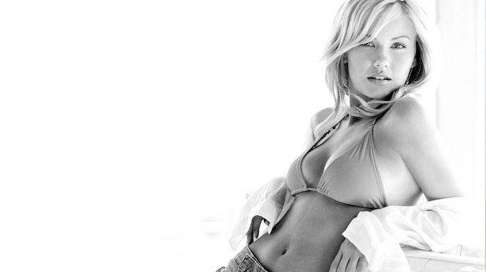 girl, Elisha Cuthbert, model, monochrome