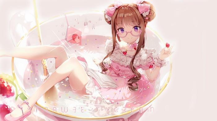 anthropomorphism, glasses, heels, purple eyes, original characters, brunette, dress, pink dress, looking at viewer, anime, anime girls, pink heels