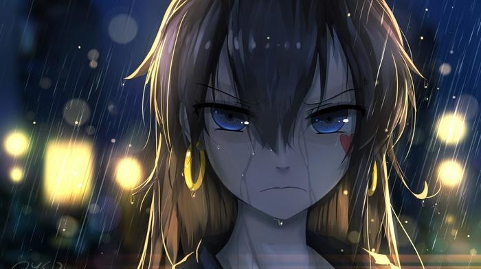 Anime Girls Blue Eyes Rain Original Characters Anime Download Wallpaper