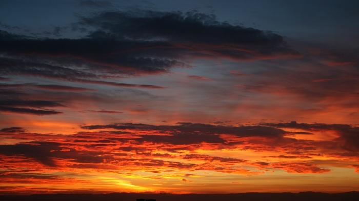 Scotland, river, clouds, sunset, reflection