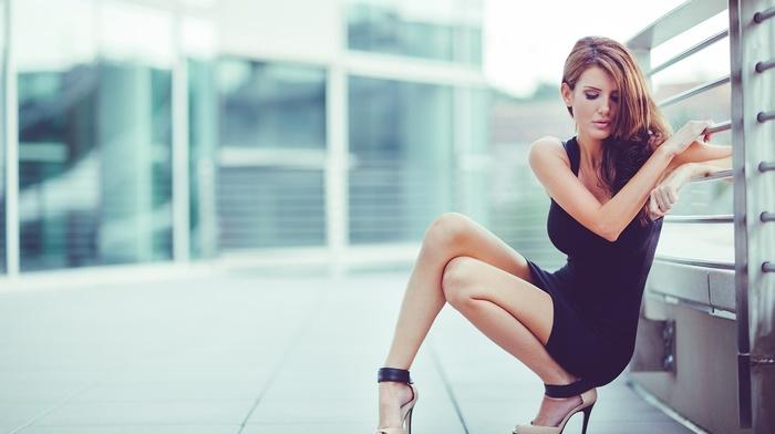 girl, brunette, squatting, city, black dress, black, closed eyes, heels, feet, high heels, legs