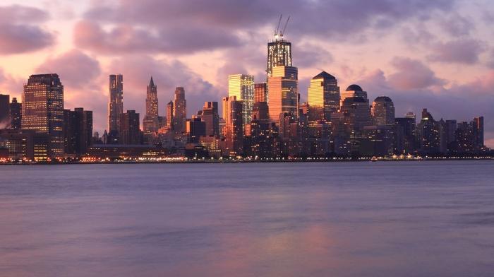 sunset, city, bay, New York City, skyline