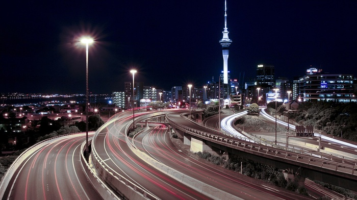 highway, night, long exposure, cityscape