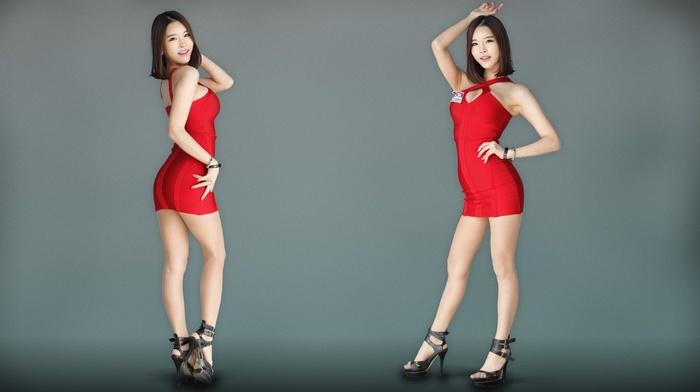 brunette, gray background, Asian, high heels, Go JinYoung, K, pop