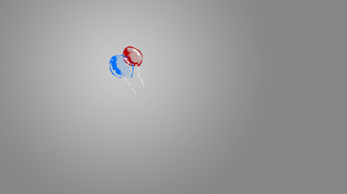 balloon, blue, gray, minimalism, red