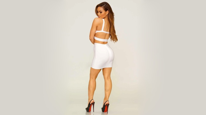 simple background, brunette, model, Louboutin, high heels, gray background, Daphne Joy, dress, ass