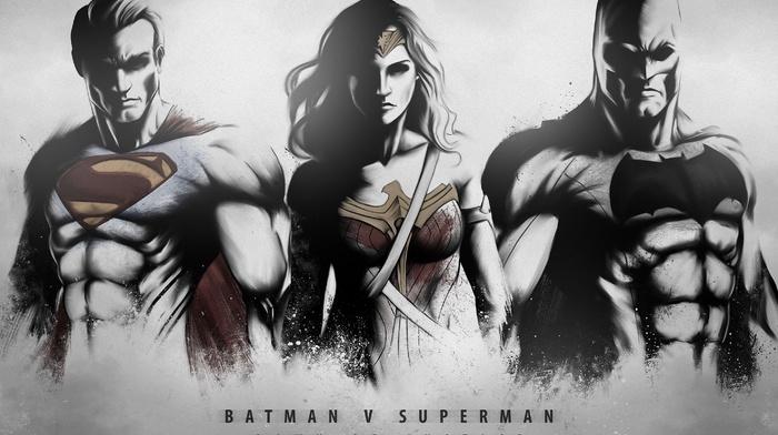 Superman, batman v superman dawn of justice, Wonder Woman, Batman