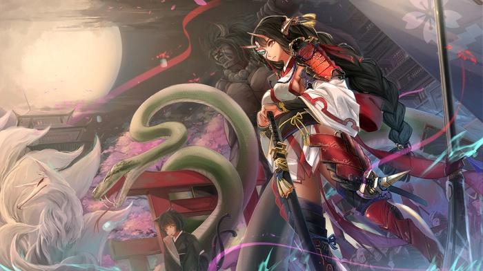 samurai, snake, Braided hair, fox, spear, anime, original characters, anime girls, horns, sword, armor, nekomimi, sideboob, tail
