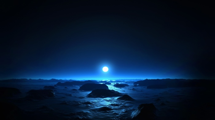 moon, blue, night, photography