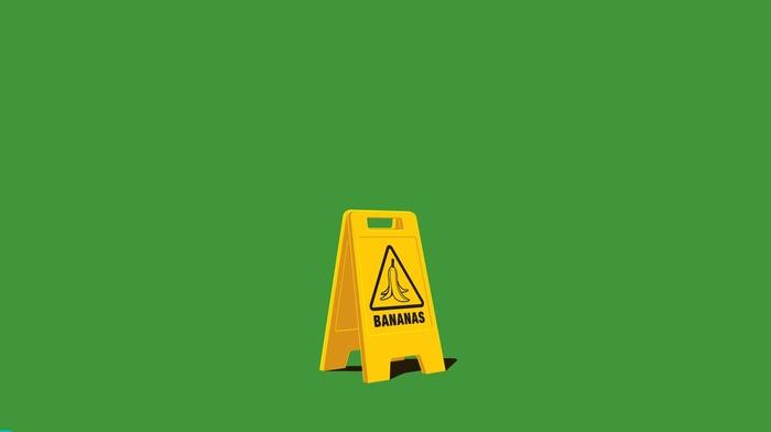 green background, warning signs, minimalism, humor, digital art, simple background, bananas
