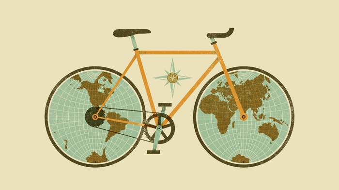 chains, continents, minimalism, wheels, gears, Europe, Asia, North America, map, world map, Australia, Antarctica, Africa, Earth, South America, simple background, digital art, bicycle