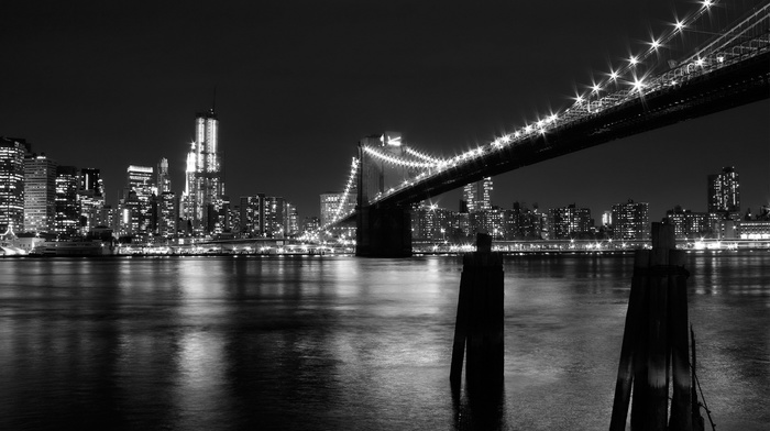 water, photography, Brooklyn Bridge, cityscape, New York City, bridge, monochrome, architecture, city, urban, skyscraper, building, reflection