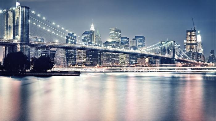 bridge, architecture, city, reflection, photography, Brooklyn Bridge, cityscape, New York City, urban, skyscraper, water, building