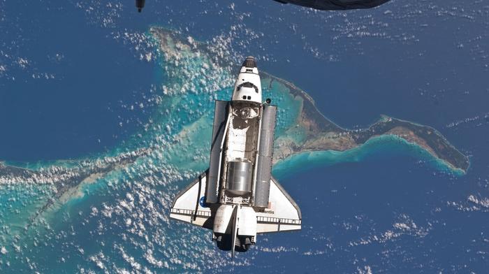 docking, photography, digital art, NASA, render, CGI, space art, Earth, hoax, fakes, space, space shuttle, Space Shuttle Atlantis