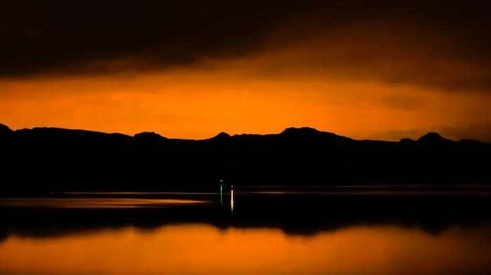 landscape, photography, nature, water, dark, reflection, orange, lake