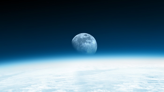 photography, Earth, moon, space, horizon